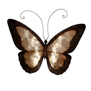 Handmade Earthtoned Butterfly with Border Metal Art