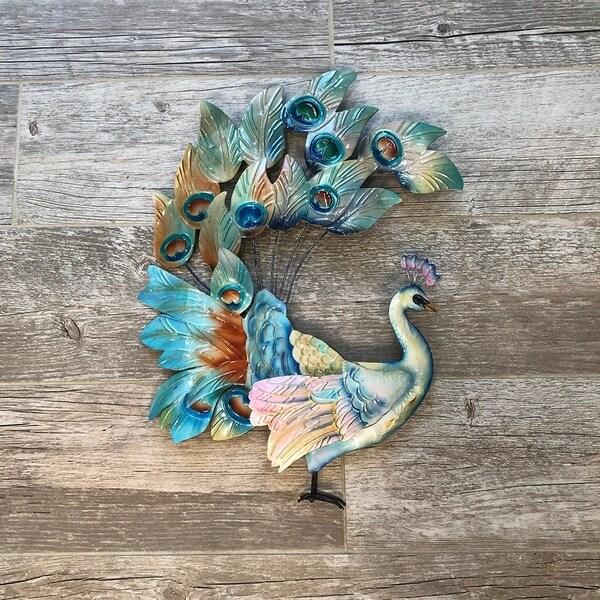 Shop Handmade Peacock Tail Raised Metal Art - On Sale ...