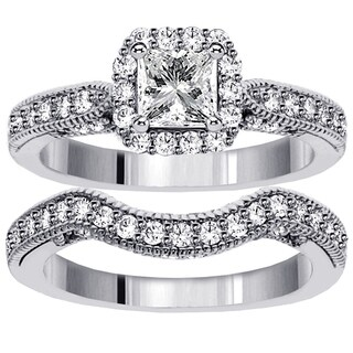 Platinum 1 3/5ct TDW Halo Designer Princess-cut Diamond Engagement Bridal Set