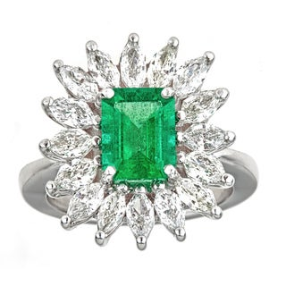 18k White Gold Marquise Diamond 2ct TDW and Emerald Cocktail Ring (G-H, SI1-SI2)
