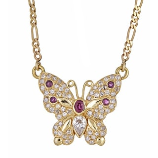 14k Yellow Gold 1 1/5ct TDW Diamond and Natural Ruby Butterfly Pendant (H-I, I1-I2)
