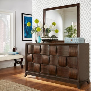 TRIBECCA HOME Porter Wooden Woven Brown 6-drawer Dresser