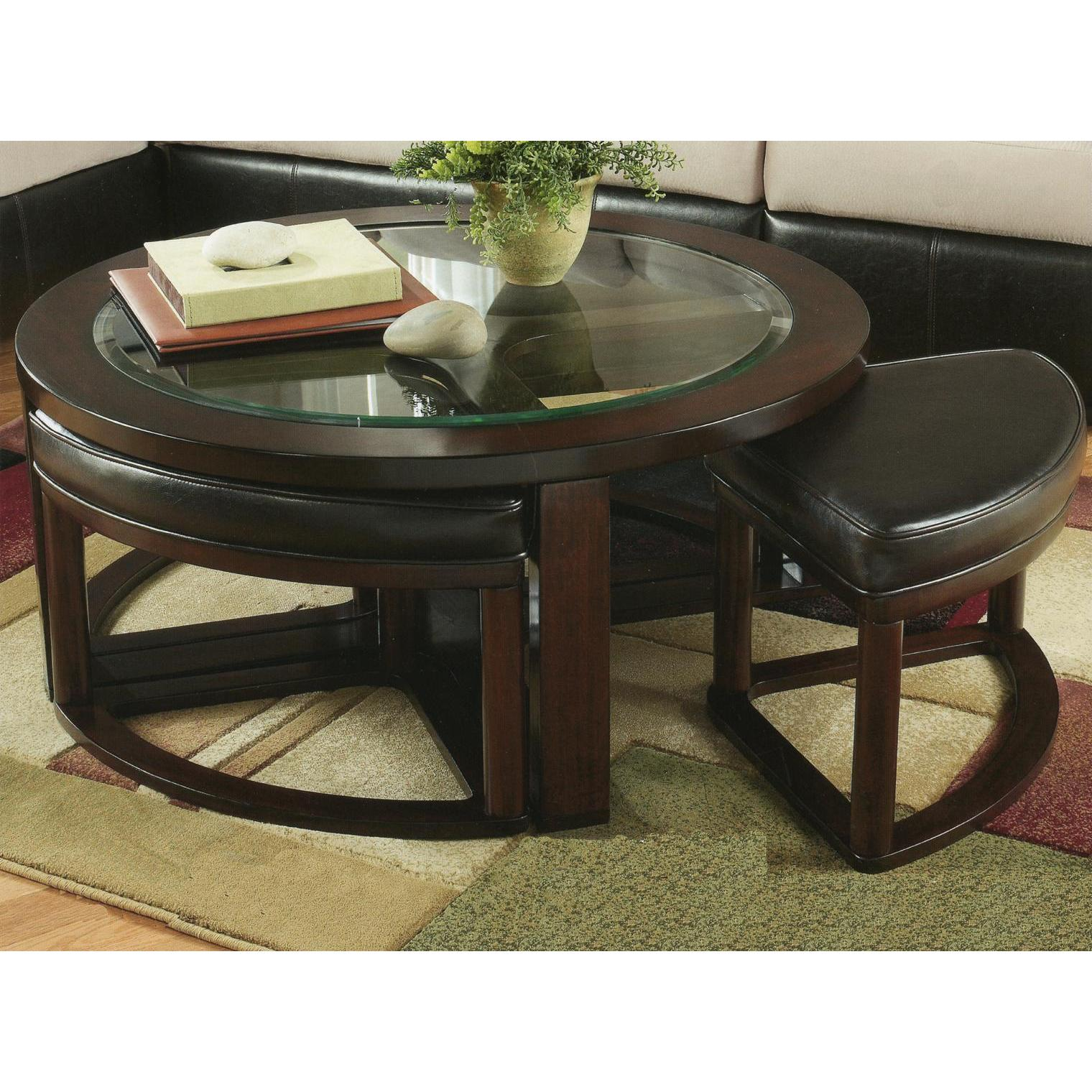 Cylina Solid Wood Glass Top Round Coffee Table With 4