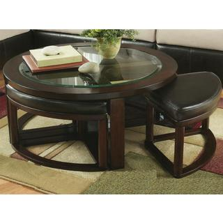 Cylina Solid Wood Glass Top Round Coffee Table With 4 Stools Part 78