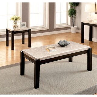 Furniture of America Leslie 2-piece Genuine Marble Top Coffee and End Table Set
