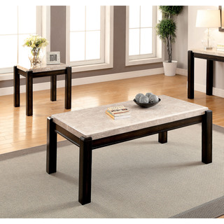 furniture of america leslie 2piece genuine marble top coffee and end table set