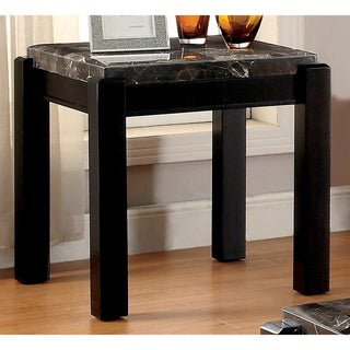 Furniture of America Leslie Genuine Marble Top End Table