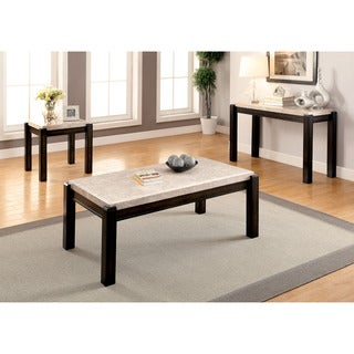 Furniture of America Leslie 3-piece Genuine Marble Top Accent Table Set