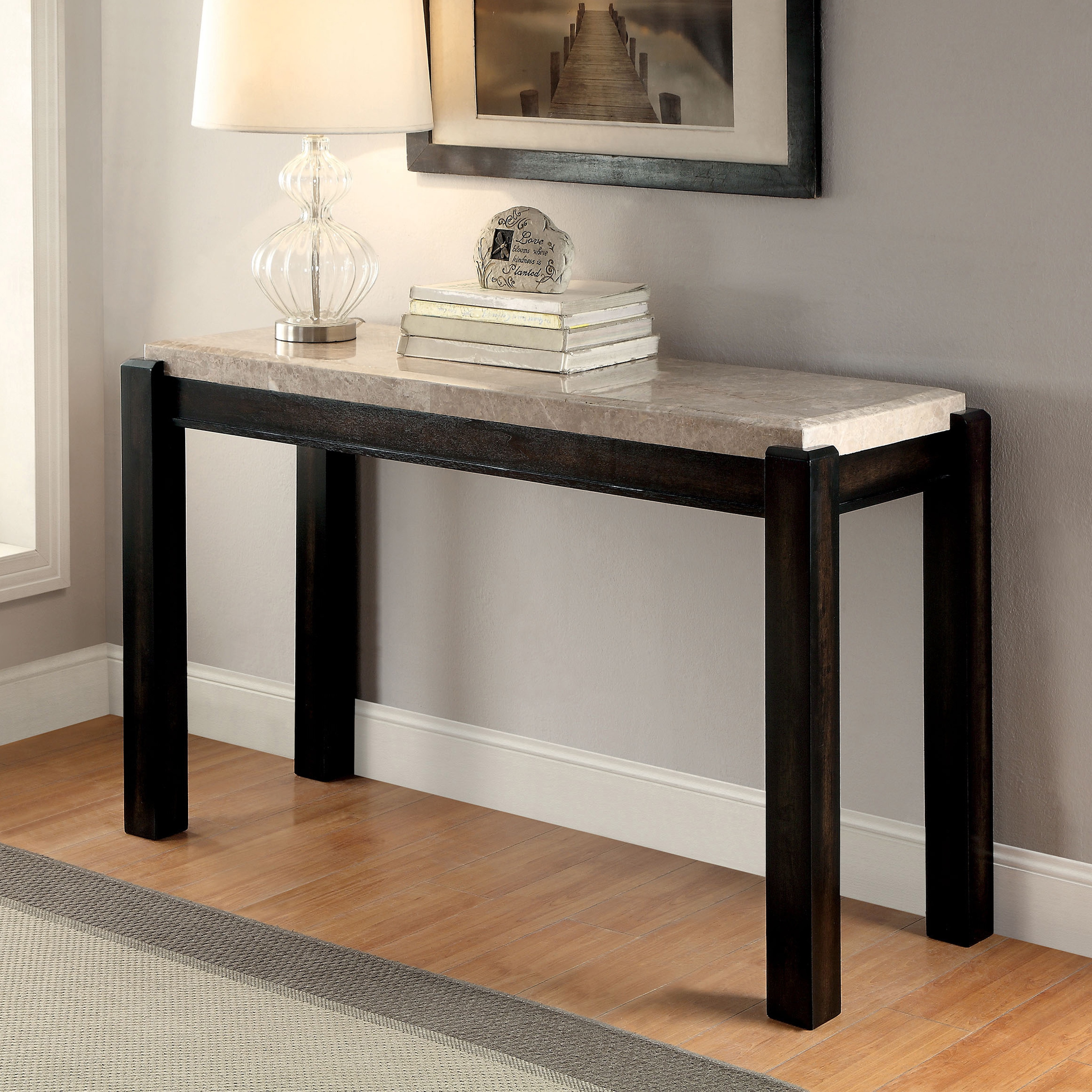 Stone Console Table: Shop Furniture Of America Leslie Genuine Marble Top Sofa