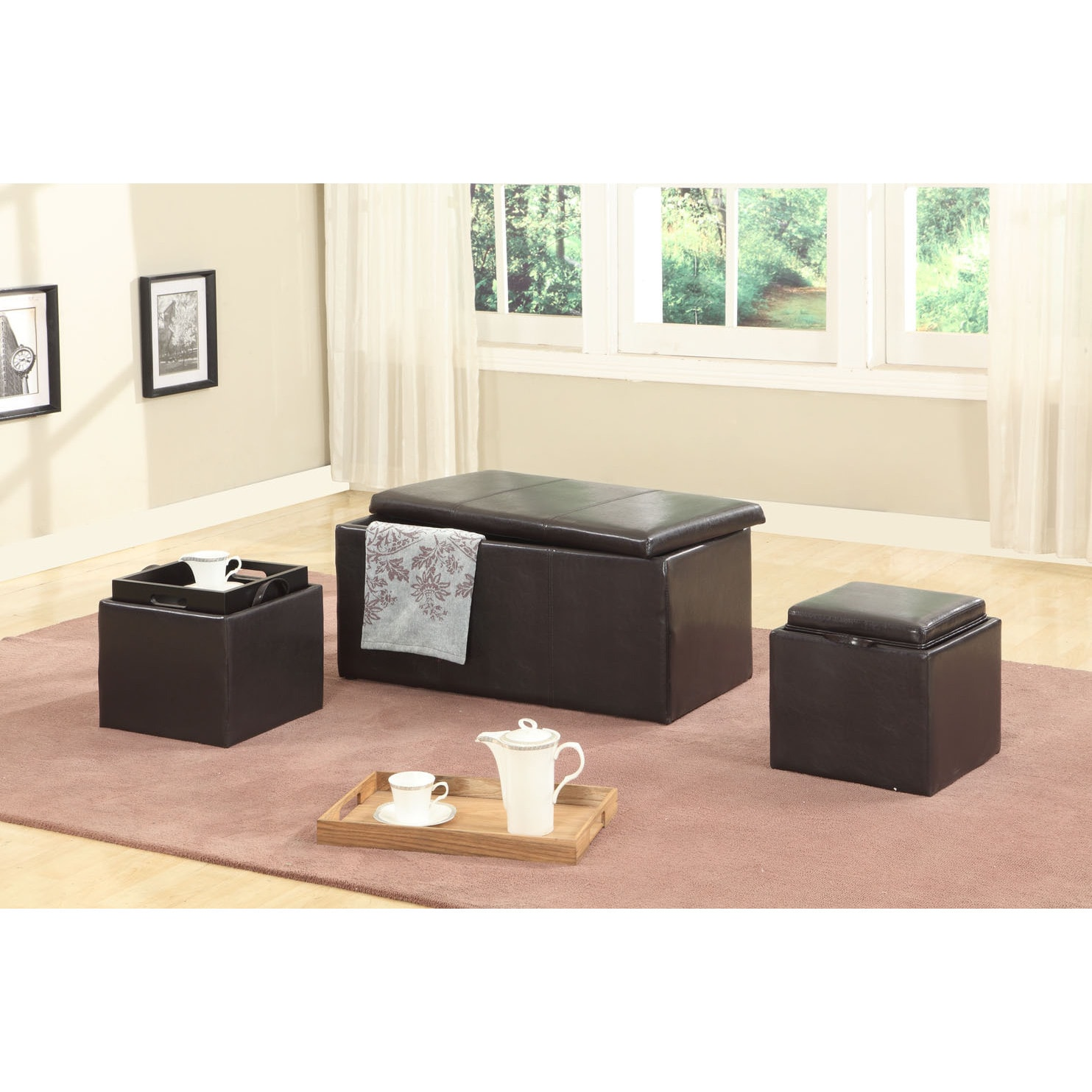 Trina Brown Triple Storage Ottomans with Wooden Trays (Se...