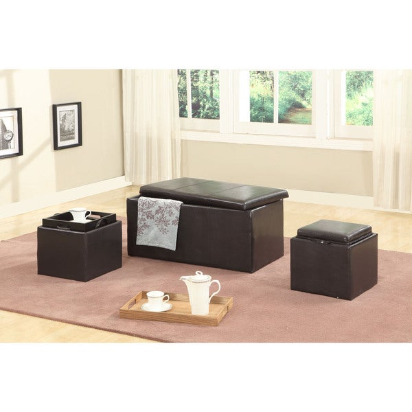 Clay Alder Home Clark Brown Triple Storage Ottomans With Wooden Trays Set Of 3