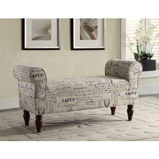 Multi-Color Aspell English Letter Linen Anywhere Accent Upholstered Bench