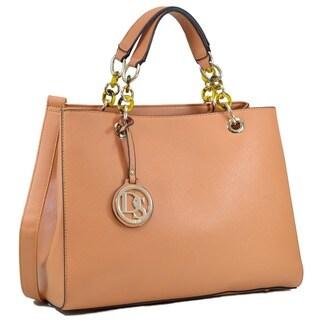 Dasein Saffiano Faux Leather Chain Strap Satchel Handbag