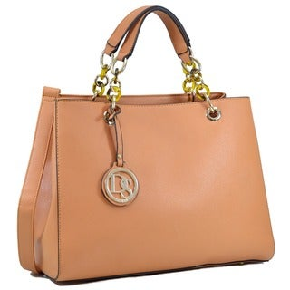 Dasein Saffiano Faux Leather Chain Strap Satchel Handbag (Option: Gold)