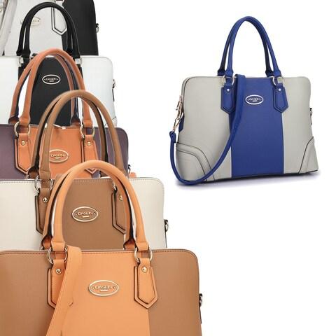 Dasein Colorblock Satchel Briefcase Handbag with Removable Shoulder Strap