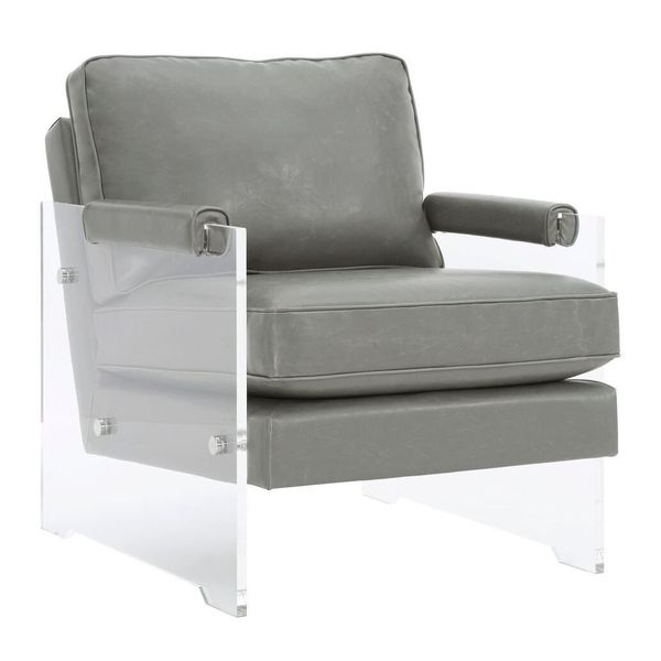Shop Leather And Lucite Arm Chair In Grey Free Shipping