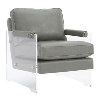 Leather and Lucite Arm Chair in Grey