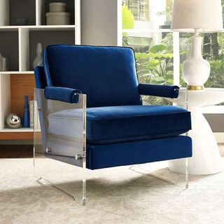Velvet and Lucite Chair in Navy Blue