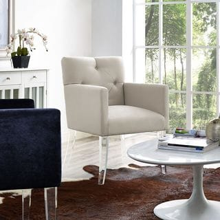 Button Tufted Linen Acrylic Chair in Beige