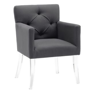 Button Tufted Linen Acrylic Arm Chair in Grey