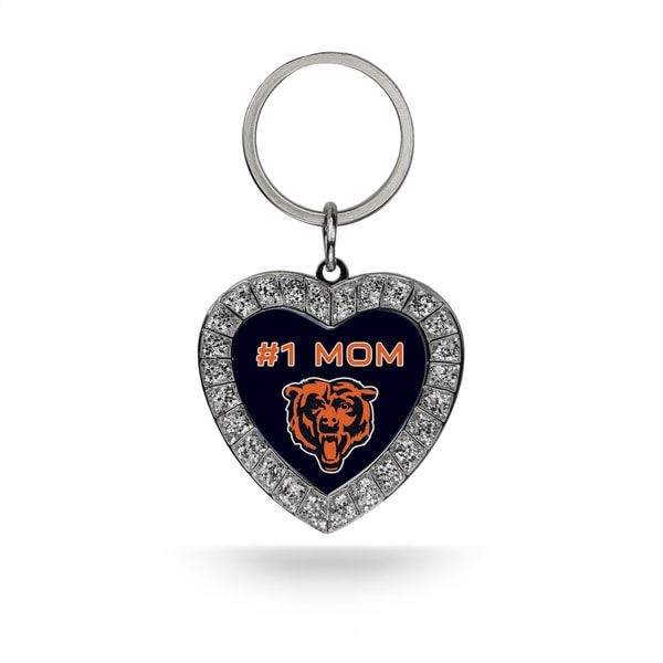 NFL Chicago Bears #1 Mom Heart Rhinestone Key Chain
