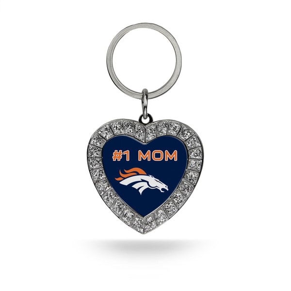 NFL Denver Broncos #1 Mom Heart Rhinestone Key Chain