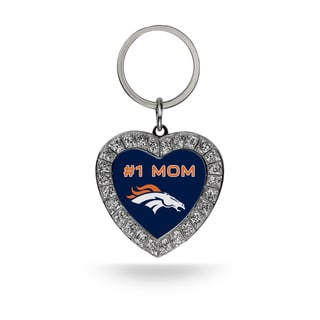 NFL Denver Broncos #1 Mom Heart Rhinestone Key Chain