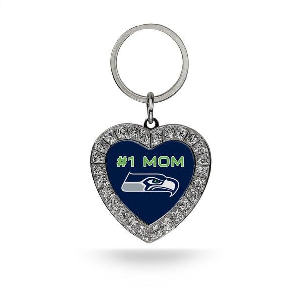 NFL Seattle Seahawks #1 Mom Heart Rhinestone Key Chain