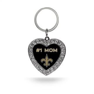 NFL New Orleans Saints #1 Mom Heart Rhinestone Key Chain