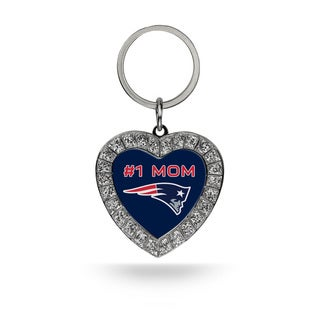 NFL New England Patriots #1 Mom Heart Rhinestone Key Chain