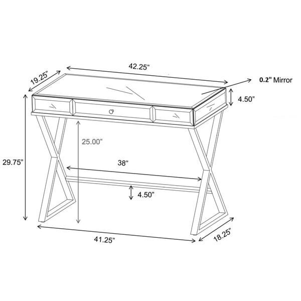 omni xbase mirrored top 1drawer campaign desk by inspire q bold free shipping today