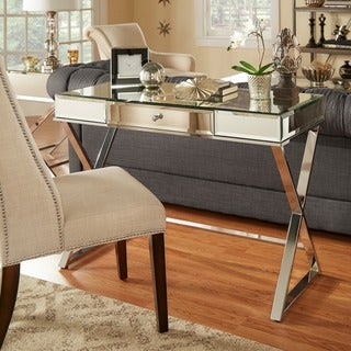 Omni X-base Mirrored Top 1-drawer Campaign Desk by iNSPIRE Q Bold (Option: Chrome Finish)