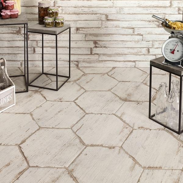 Somertile lambris blanc hex porcelain for 16 inch floor tile