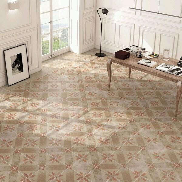 Somertile campania star red porcelain floor for 16 inch floor tiles