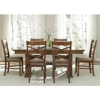Bistro Honey Brown Trestle Base Dinette Table