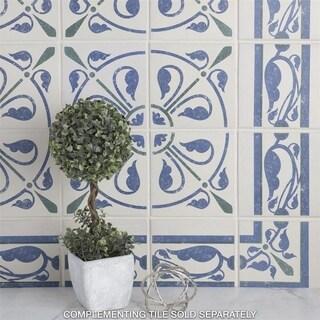 SomerTile 7x7-inch Grava Quatro Deco Cenefa Porcelain Floor and Wall Tile (Case of 4)