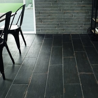 SomerTile 8.25x23.5-inch Lambris Negre Porcelain Floor and Wall Tile (Case of 8)|https://ak1.ostkcdn.com/images/products/11669584/P18598270.jpg?impolicy=medium