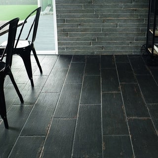 Link to SomerTile 8.25x23.5-inch Lambris Nero Porcelain Floor and Wall Tile (8 tiles/11.22 sqft.) Similar Items in Tile
