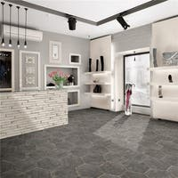 SomerTile 14.125x16.25-inch Lambris Cendra Hex Porcelain Floor and Wall Tile (9 tiles/10.76 sqft.)