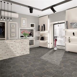 SomerTile 14.125x16.25-inch Lambris Cendra Hex Porcelain Floor and Wall Tile (9 tiles/10.76 sqft.)