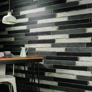 SomerTile 2.75x23.5-inch Lambris Negre Porcelain Floor and Wall Tile (Case of 24)