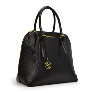 Adrienne Vittadini Ostrich Print Large Dome Satchel Handbag
