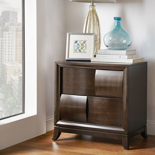 TRIBECCA HOME Porter Wooden Woven Brown 2-drawer Accent End Table