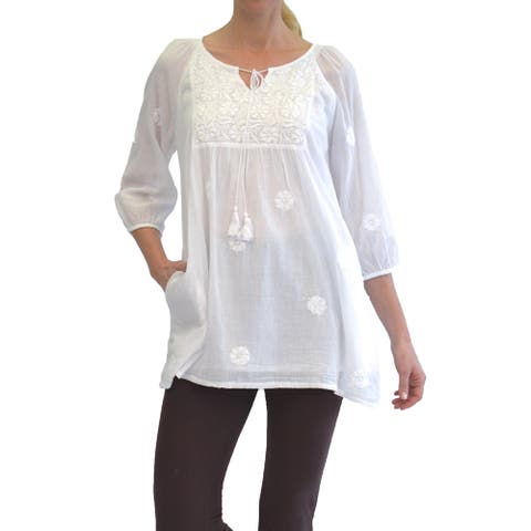 La Cera Women's White 3/4 Sleeve Tunic Top