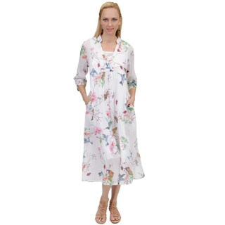 La Cera Women's Long Sleeve Printed White Caftan (3 options available)