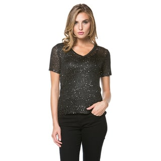 High Secret Women's Sequin Embellished Short Sleeve Top (As Is Item)|https://ak1.ostkcdn.com/images/products/11669683/P18598369.jpg?impolicy=medium