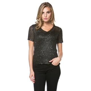 High Secret Women's Sequin Embellished Short Sleeve Top|https://ak1.ostkcdn.com/images/products/11669683/P18598369.jpg?impolicy=medium