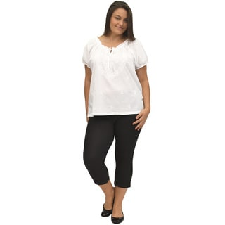 La Cera Women's Plus Size White Embroidered Peasant Top
