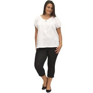 La Cera Women's Plus Size White Embroidered Peasant Top