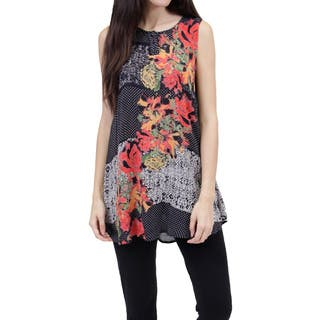 La Cera Women's Sleeveless Printed Top|https://ak1.ostkcdn.com/images/products/11669688/P18598380.jpg?impolicy=medium